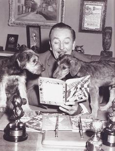 Walt Disney promoting Lady and the Tramp. Love this photo!