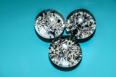 Floral Ink Splat Designs Glass Button Magnets Set of Three. via Etsy.
