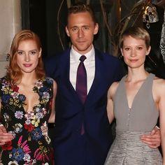 Tom Hiddleston, Jessica Chastain and Mia Wasikowska attend a celebration of Bergdorf Goodman Windows inspired by the film 'Crimson Peak' at Bergdorf Goodman on October 13, 2015 in New York City. Full size image: http://ww3.sinaimg.cn/large/6e14d388jw1ex0iwo1up2j21kw19i4lv.jpg Source: Torrilla, Weibo
