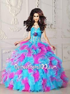 6de9699efd1 Multi-color Strapless Organza Appliques and Hand Flower Quinceanera Dress  Strapless Organza