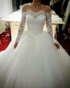 Prom Dress Princess, lace long sleeves tulle ball gowns wedding dresses off the shoulder Shop ball gown prom dresses and gowns and become a princess on prom night. prom ball gowns in every size, from juniors to plus size. Long Sleeve Bridal Dresses, Long Wedding Dresses, Long Sleeve Wedding, Wedding Dress Sleeves, Bridal Gowns, Dress Wedding, Dress Long, Ivory Wedding, Modest Wedding