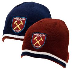 West Ham United F. Reversible Knitted Hat - reversible knitted hat- adults one size fits all- embroidered crest- with a swing tag- official licensed product West Ham United Fc, Football Accessories, Football Memorabilia, Soccer Gifts, Knitted Gloves, Product Offering, One Size Fits All, Baseball Hats, The Unit
