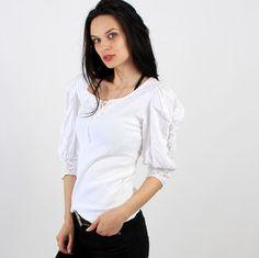 Vintage White Cotton Ruffle Wide Crochet Sleeve Blouse by Ramaci
