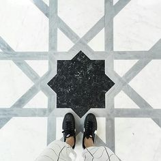 The kingsize Moroccan symbol. keep tagging #feetmeetfloors for more crazy tiles. Regram @whitney_valerie  From where I stand…