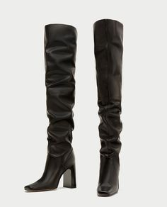 ZARA - TRF - OVER-THE-KNEE HIGH HEEL LEATHER BOOTS