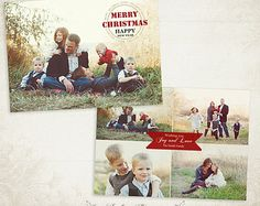 Christmas Card Template - 7x5 photo card template - for photographers and personal use- 021 - ID168, INSTANT DOWNLOAD