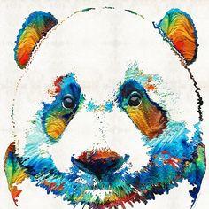 #panda #pandas Colorful Panda Bear Art By Sharon Cummings
