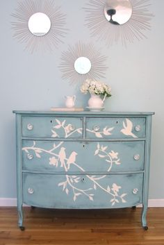 Shades of Blue Interiors: Blue Bird Dresser  Could do this with the dresser at the entry -I would have to switch colors sine the wall is blue.
