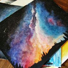 #акварель #рисунок #космос #лес #небо #звезды