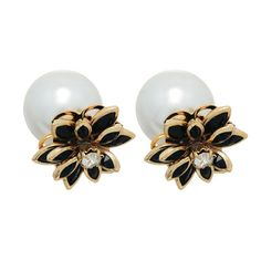 Black & Gold Double Sided Pearl Earrings