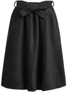 8ad26d9e6 Shop Black Bow Woolen Skirt online. Sheinside offers Black Bow Woolen Skirt  & more