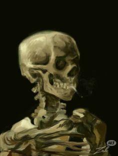"Based on Van Gogh ""Skull of a Skeleton with Burning Cigarette"""
