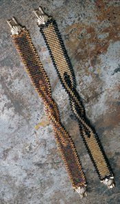 Square-Stitched Twisty Strap beaded bracelet pattern by Marji Brohammer. Free beading project using off-loom beadweaving square stitch from Beading Daily! http://www.beadingdaily.com