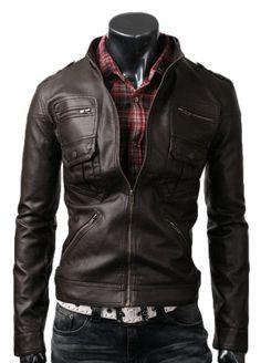 Dark Brown Zip Pocket Leather Jacket | Stylish Two Pocket Zip Jacket