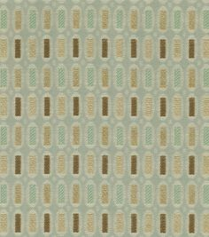 DID MY USF OFFICE IN THIS --- THESE BROWN TONES WOULD PULL OUT THE BROWNS IN YOUR BEDROOM FURNITURE, AND THE GEOMETRICS WOULD MODERNIZE AS CONTRAST TO VERY FORMAL STYLE OF FURNITURE. Home Decor Fabric-Better Homes