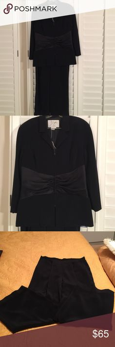 "Tuxedo Pant Suit This pant suit is perfect for a wedding or New Years Eve. The pant is 27"" long with a waist of 34"". Pant has a back zip. Jacket has a beautiful gathered waist.  From a smoke free and pet free home. Bizar Pants"