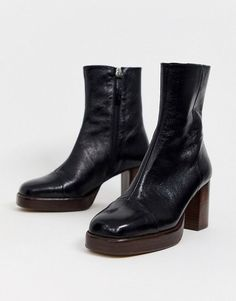 Buy ASOS DESIGN Reunion premium leather platform boots in black at ASOS. With free delivery and return options (Ts&Cs apply), online shopping has never been so easy. Get the latest trends with ASOS now. Flat Boots, Lace Up Boots, Leather Boots, Shoe Boots, Women's Boots, Leather Sandals, Riding Boots, Dr Shoes, Cute Shoes