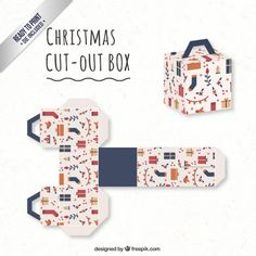 Cute christmas box in cube style Free Vector Merry Christmas Background, Merry Christmas Card, Christmas Crafts, Christmas Boxes, Diy Gift Box, Diy Box, Gift Boxes, Christmas Card Template, Christmas Printables