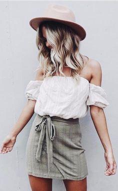 off-the-shoulder + olive green - summer outfit