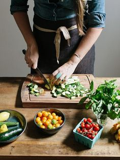 prepping vegetables.