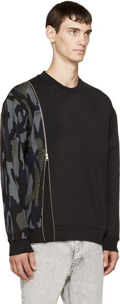 McQ Alexander McQueen Black & Camo Zippered Pullover