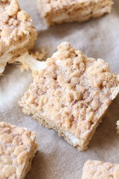 Snickerdoodle Rice Krispie Treats made with browned butter, extra marshmallows and cinnamon sugar. Made extra delicious with vanilla extract and a pinch of salt!