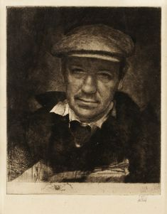 AXEL FRIDELL, SELF PORTRAIT WITH SPORT CAP II, 1933 DRYPOINT ON JAPANESE PAPER 15.1 X12.7 CM.