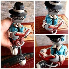If you don't follow me on Instagram, you missed out on the debut of the last Professor Bot of the year. He's already been adopted, but more Professors will be made in 2014 and I'm always taking custom requests. Say hello to Bayle, he'd say hello back, but he's too busy reading. Robot sculptures combining polymer clay, wire woven into coil springs, varnish and (sometimes) a little heart handmade by HerArtSheLoves. http://theawesomerobots.com