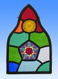 Zon en Ster, gebrandschilderd, glas in lood, raamhanger, sun, star, stained glass, suncatcher, kilnfired, unica, art glass