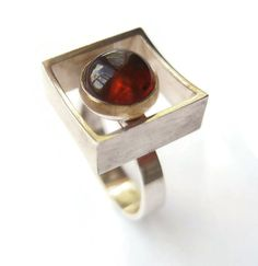Nils Erik (DK), vintage modernist sterling silver ring with a baltic amber cognac stone, 1960s. #Sold