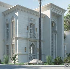 Arabic Villa on Behance Villa Design, Facade Design, Exterior Design, Classic Architecture, Islamic Architecture, Architecture Design, London Architecture, Classic House Design, Modern House Design