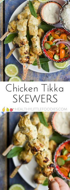 Chicken tikka skewers, lightly spiced and perfect for kids. Great served with rice and salad or stuffed into a sandwich.  #kidsfood #kidfood #chickentikka #foodonastick via @hlittlefoodies