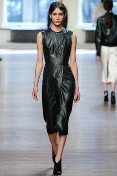 A very soft, piecey drapey way to wear the leather shift at Yigal Azrouel.  Yigal Azrouël Fall 2014 Ready-to-Wear Collection Slideshow on Style.com