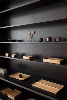 Dark wood shelves.
