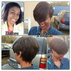 chin length relaxed hair cut into a bob, with swooping bang My Hairstyle, Pretty Hairstyles, Love Hair, Gorgeous Hair, Layered Pixie Cut, Pixie Cuts, Coiffure Hair, Short Hair Styles, Natural Hair Styles