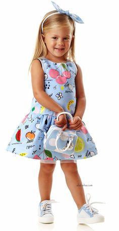 ALALOSHA: VOGUE ENFANTS: NEW SEASON SS'16: Younger girls powder prints dresses by Simonetta Mini