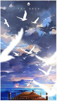 Fantasy Art Landscapes, Fantasy Landscape, Landscape Art, Anime Scenery Wallpaper, Wallpaper Backgrounds, Creative Illustration, Illustration Art, Illustrations, Ciel Art