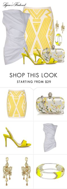 """""""Yellow Aztec Print Skirt -  #3851"""" by lynnspinterest ❤ liked on Polyvore featuring Jane Norman, Alexander McQueen, Jimmy Choo, Vivienne Westwood Anglomania, Oscar de la Renta and Alexis Bittar"""