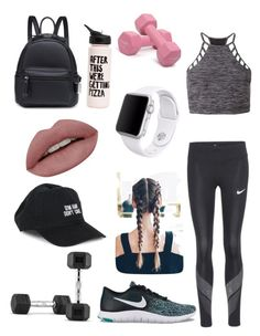 """#Workout"" by zoe-love720 ❤ liked on Polyvore featuring NIKE, Express, Body Rags, Apple and ban.do"