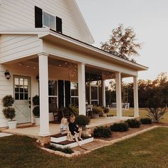 Topiaries, rock around shrubs, lights on porch