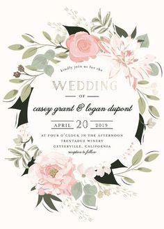 """Petal Surround"" - Rustic, Bohemian Foil-pressed Wedding Invitations in Blush by Susan Moyal."
