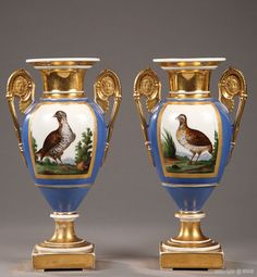 Paris Porcelain  —  Pair of gilt and polychrome   vases ' Flomers and Birds', c.1820   (663x719)