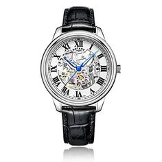 d30cfd4b6d6 Rotary Men s Automatic Watch with White Dial Analogue Display and Black  Leather Strap GS00654 01 - The Sterling Silver Com