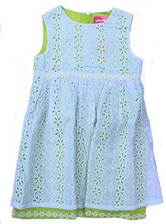 White & Green Broderie Anglaise Dress - Baby Girl Dresses - Girls - Little Chickie
