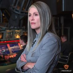 Julianne Moore transforms into District 13's fearless leader #PresidentCoin in #TheHungerGames: #Mockingjay Part 1.http://www.panempropaganda.com/movie-countdown/2014/9/29/mockingjay-part-1-images-from-the-hunger-games-instagram-day.html/