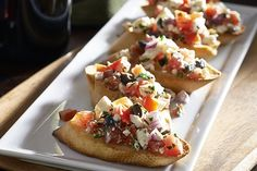 Bruschetta Appetizers-is an easy and quick recipe for a delicious, cheesy, Italian appetizer. Main Ingredients include: Feta cheese, black olives, tomatoes and red onions. It takes only (25) minutes. including cooking time, from start to finish. It is also a healthy, low calories, low fat, low cholesterol, low sodium, low carbohydrates, low sugars, vegetarian, diabetic, heart-healthy and Weight Watchers (1) PointsPlus recipe. Makes (36) servings.
