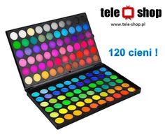 http://tele-shop.pl/ PALETA 120 CIENI. Wysokiej jakości zestaw 120 cieni do powiek ( matowych i błyszczących) pozwala na stworzenie perfekcyjnego makijażu oczu.