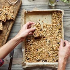 Recipe for homemade granola bars. What A Day Of Plant-Based Eating Looks Like - mindbodygreen.com