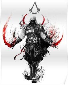 assassin's creed ezio Framed Art Print by ururuty - Vector Black - MEDIUM Assassins Creed 2, Tatouage Assassins Creed, Assasins Cred, Assassin's Creed Wallpaper, All Assassin's Creed, Trash Polka, Gaming Wallpapers, Video Game Art, Video Game Quotes