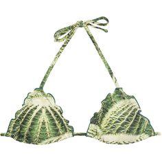 Agua De Coco Padded Cactus Print Triangle Bikini Top - Soutien Cacto... (8640 RSD) ❤ liked on Polyvore featuring swimwear, bikinis, bikini tops, green, triangle swim top, green bikini, padded bikini top, tankini top and padded swimsuit tops
